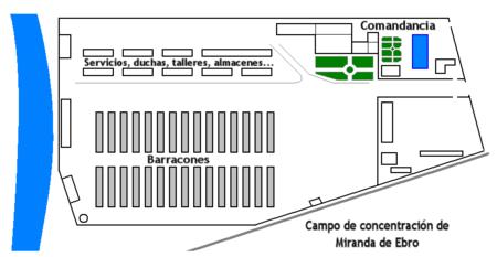 Plano del campo de concentración de Miranda del Ebro