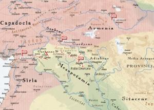 Mapa de la antigua Mesopotamia en la época de Trajano