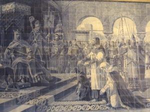 Uno de los mosaicos de azulejos de San Bento