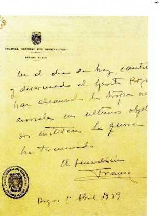 Comunicado original manuscrito del puño y letra de Franco.
