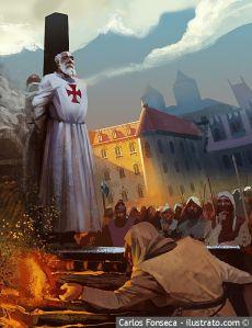 Jacques de Molay es quemado en la hoguera en Nôtre Dame