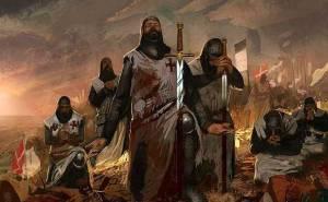 Cruzados templarios después de una batalla orando