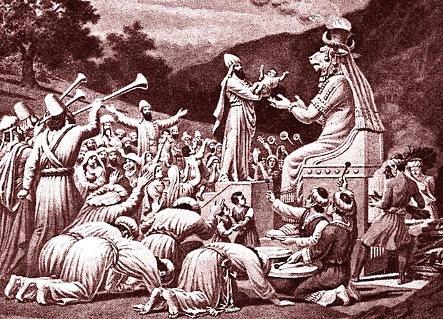 Figura de los cananeos ofreciendo un infante a Moloch para ser ofrecido en fuego. Autor desconocido