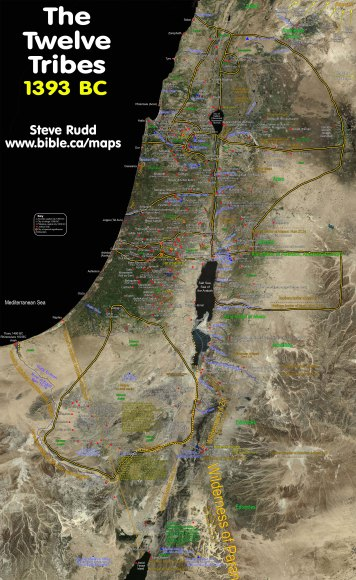Mapa de las 12 Tribus de Israel