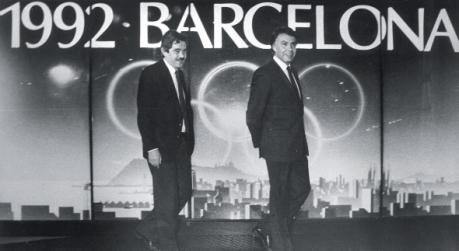 Pasqual Maragall como Alcalde de Barcelona y Felipe González Presidente del Gobierno durante la candidatura de Barcelona