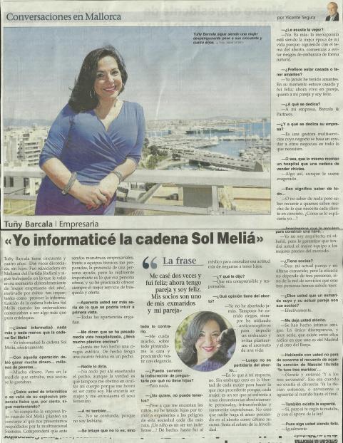 Artículo entrevista publicado a la empresaria Tuñy Barcala y objeto de la denuncia
