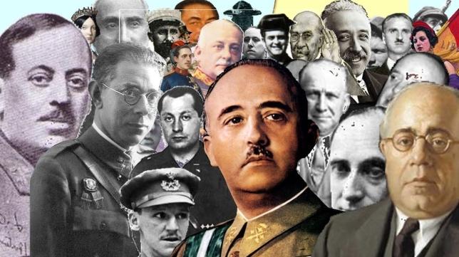 Franco, Azaña, Vicente Rojo, alguno de los protagonistas de la II República y GC
